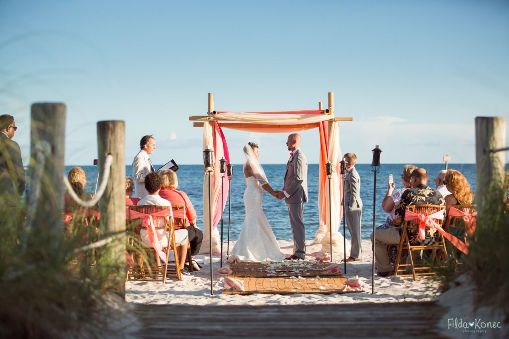 Wide view of beach ceremony set up in Key West, FL