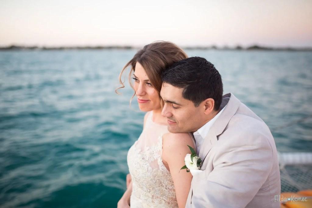 bride and groom looking at the ocean