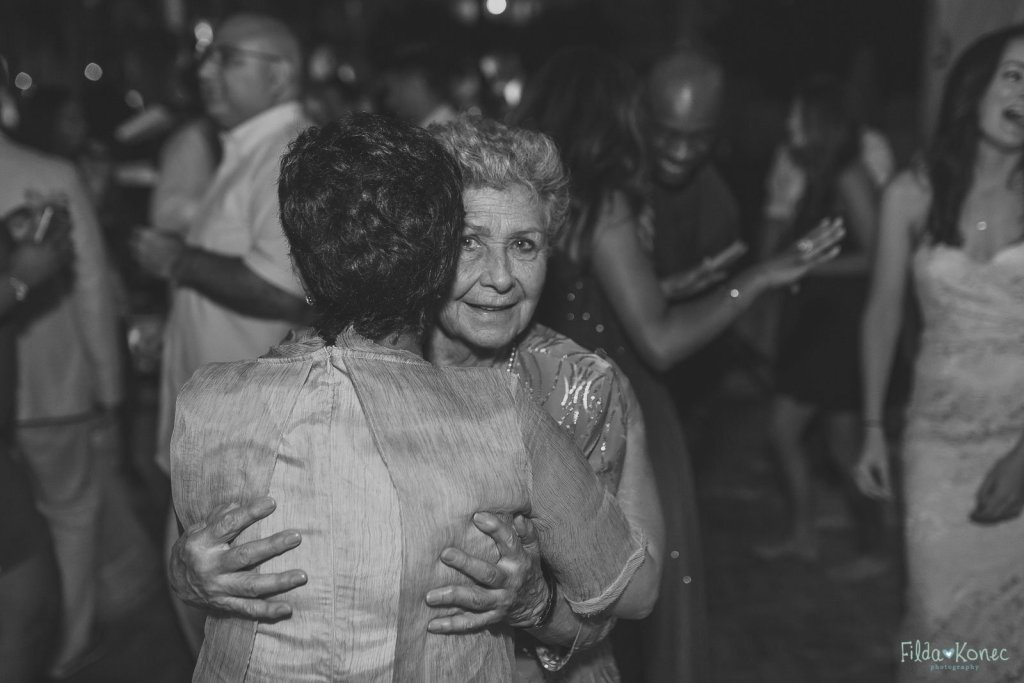 two ladies dancing at key west wedding reception at the reach resort