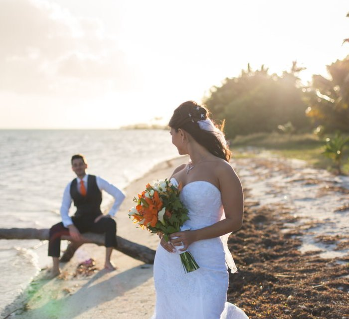 bride and groom on the beach in florida keys
