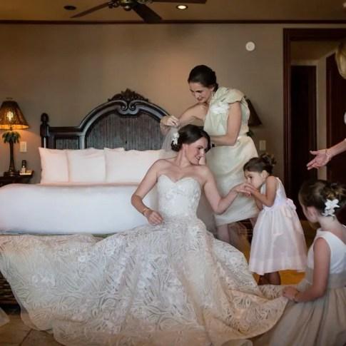 bride getting ready for her beach wedding in islamorada