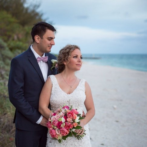 wedding couple on the beach in key west