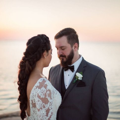 bride and groom during sunset at little palm island