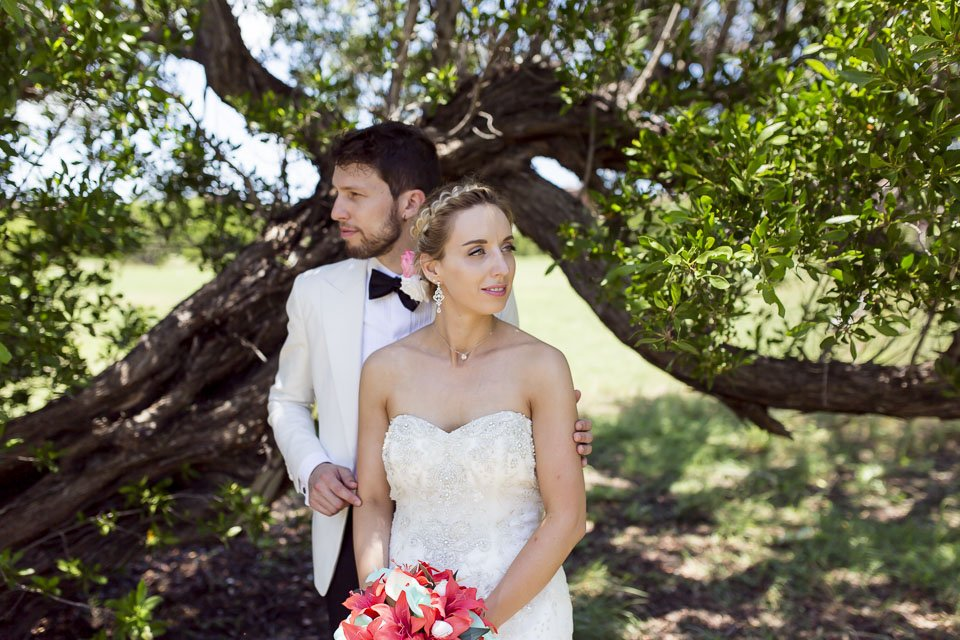 couple portrait with trees in the background