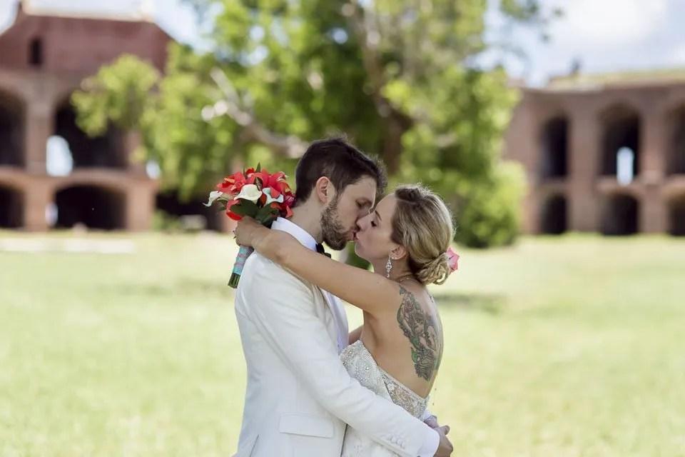 bride and groom kiss florida keys wedding photographer