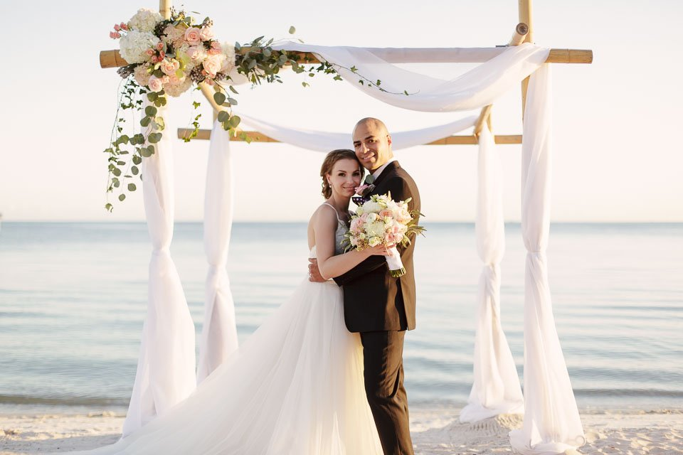 key west beach wedding photo of bride and groom