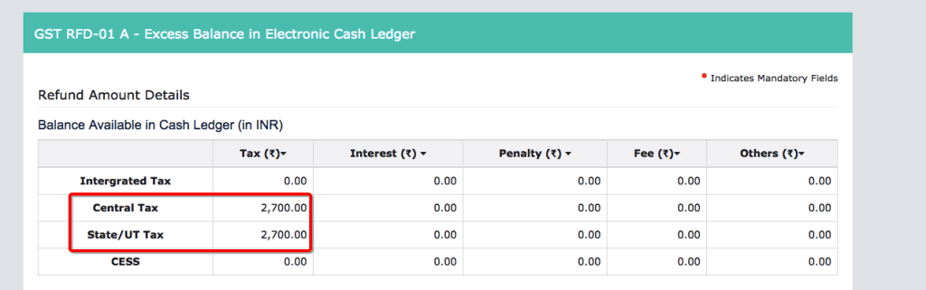 Excess Balance in Cash Ledger