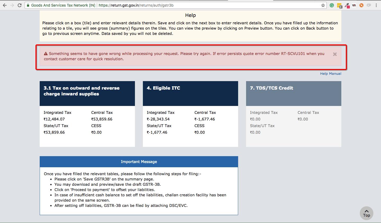 GST Error RT-SCVU101