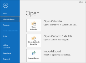 export imap mails in outlook