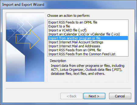 import nsf to pst format
