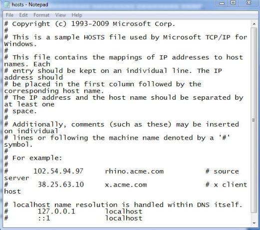 edit host file in windows 7