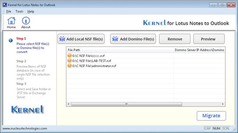 kernel nsf to pst converter