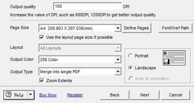 settings for output pdf
