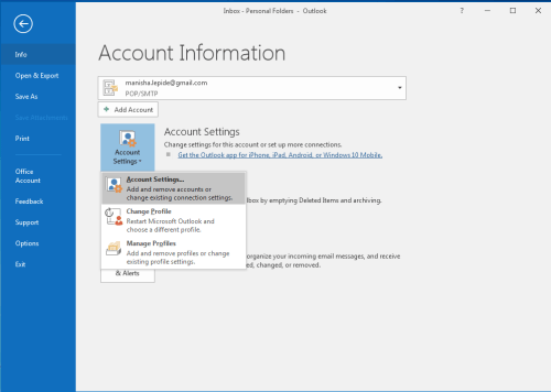 change outlook mail storage location