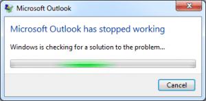 outlook not responding