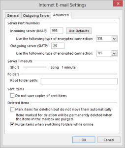 check aol advanced settings