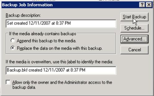 ntbackup exchange server