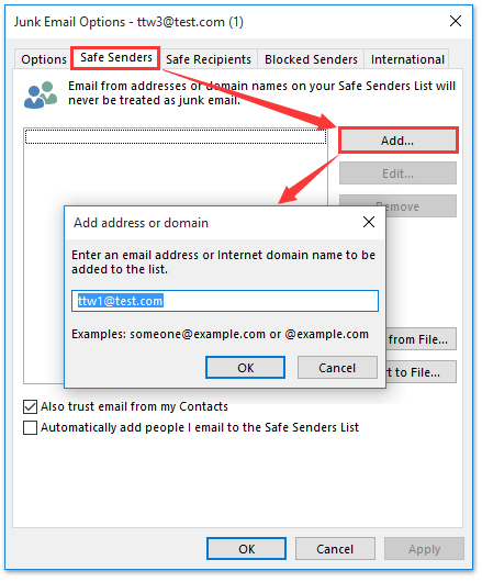 outlook add email to safe senders list