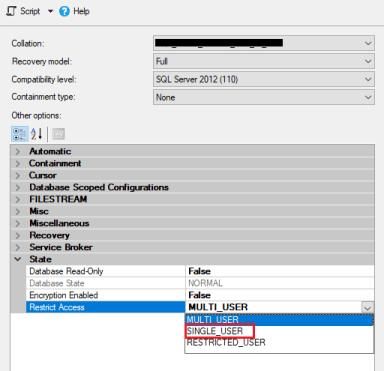 sql database single user mode