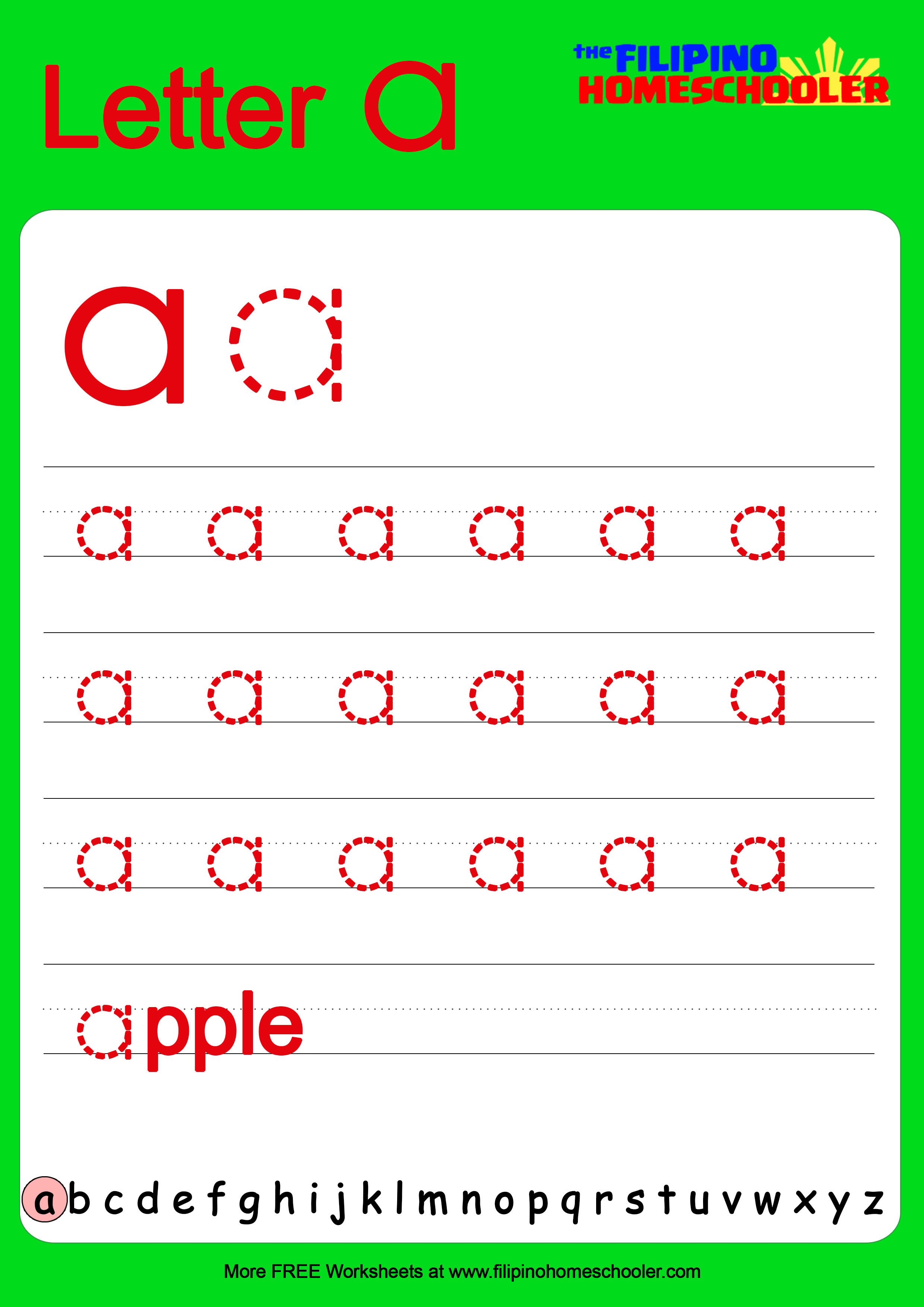 Free Lowercase Letter Tracing Worksheets The Filipino
