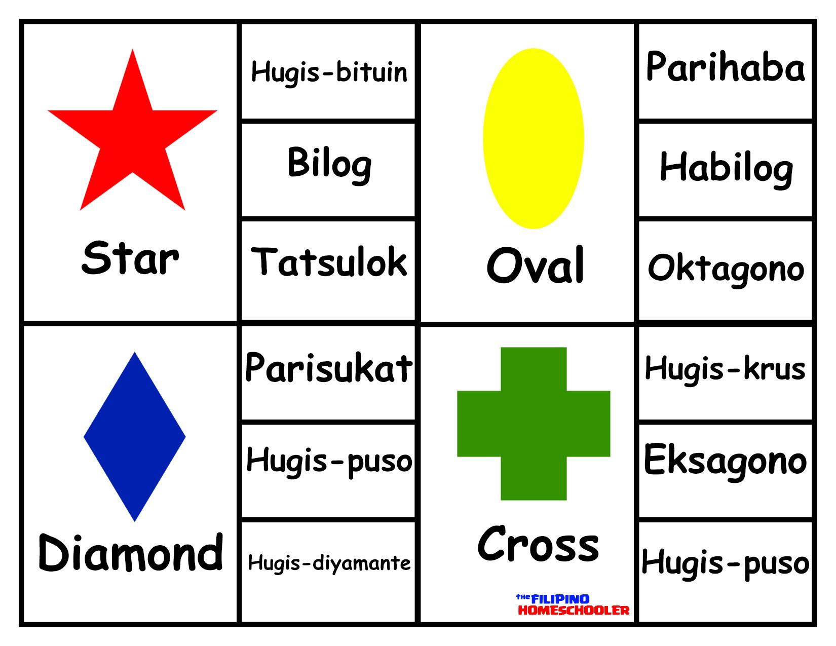 Shapes In Filipino Clip Cards The Filipino Homeschooler