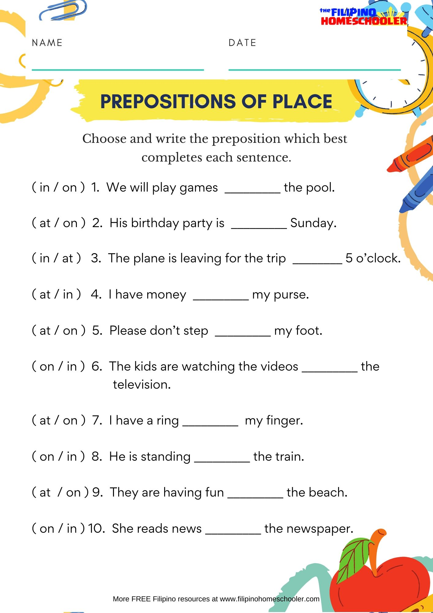In On At Prepositions Of Place Worksheet