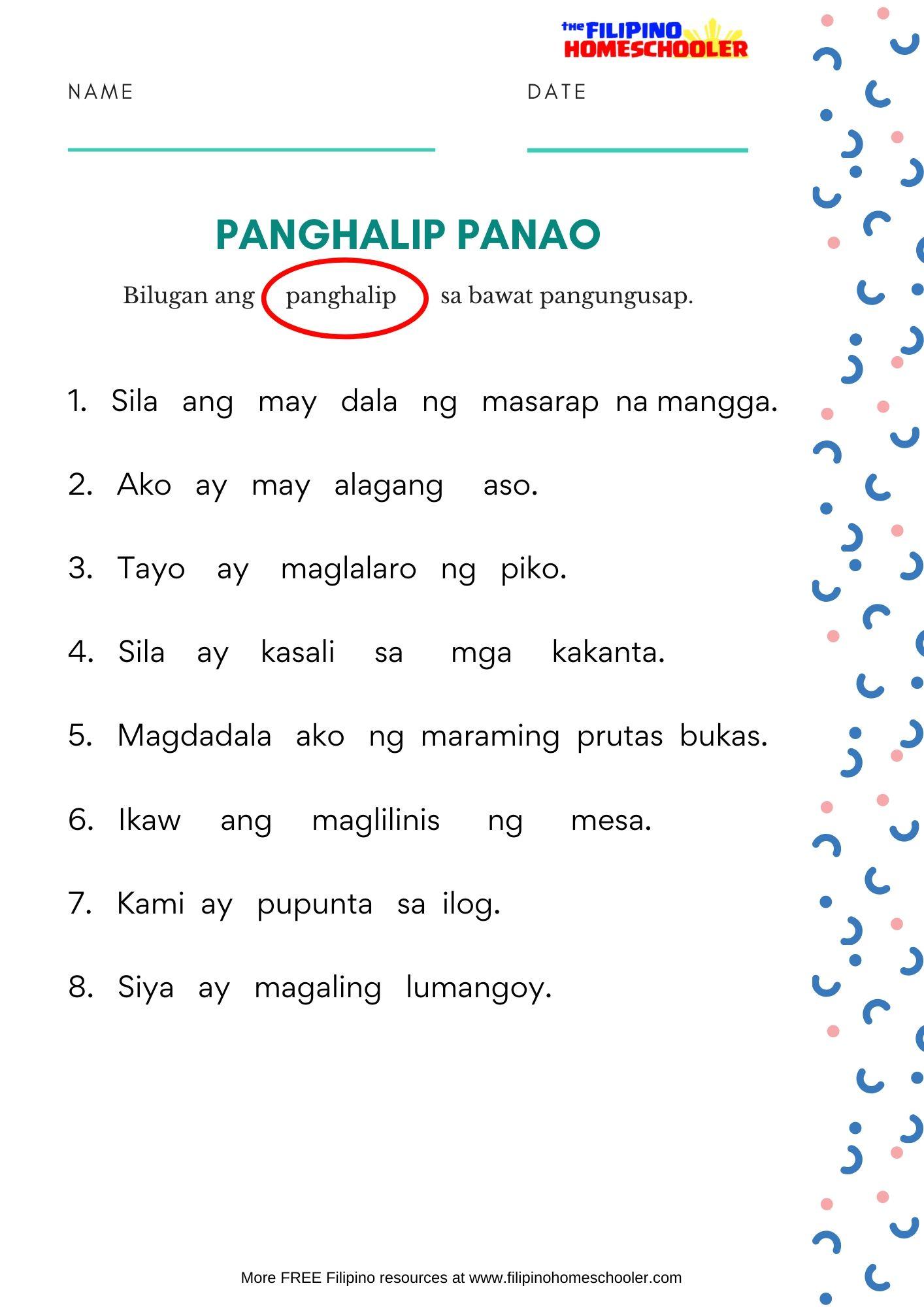 Free Panghalip Panao Worksheet Set 1