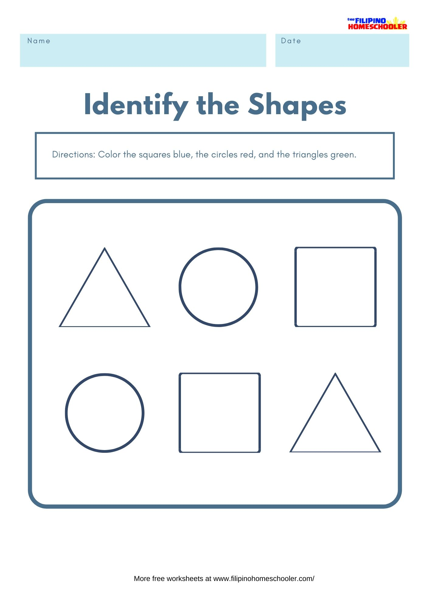 Color The Shape Math Worksheet