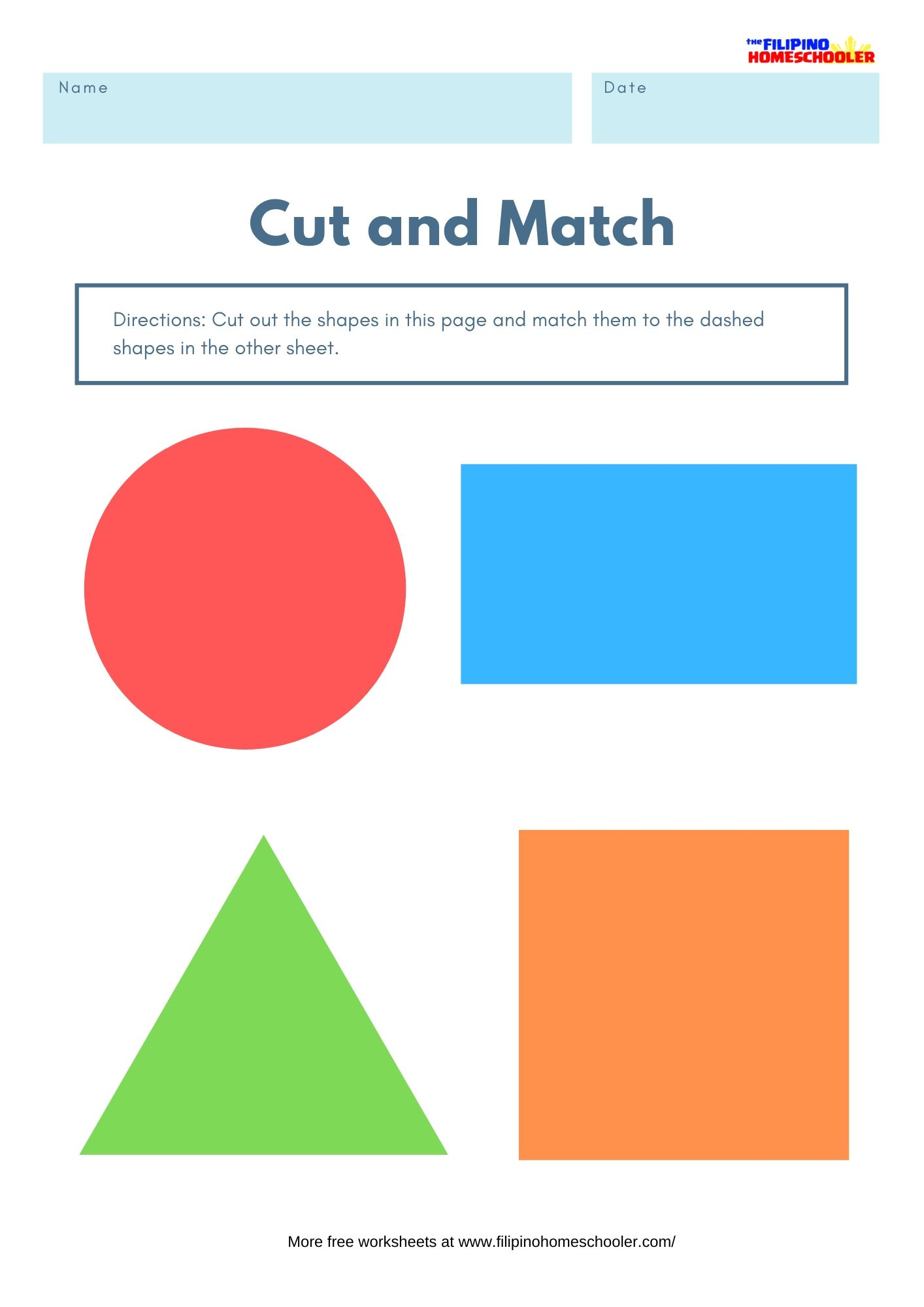 Cut And Match Shapes Worksheets