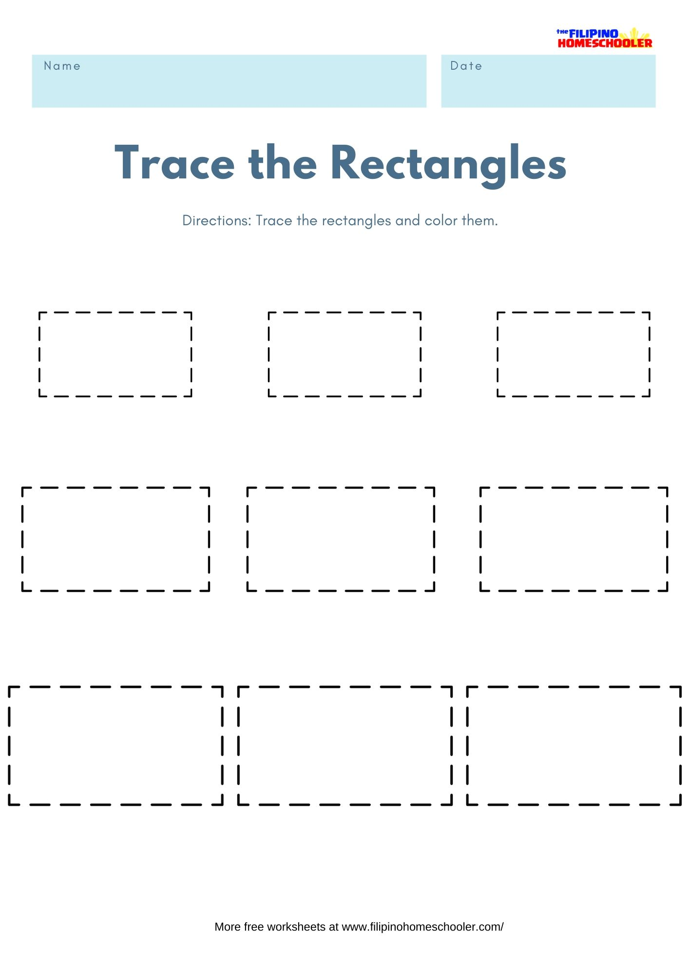 Trace The Shapes Math Worksheets