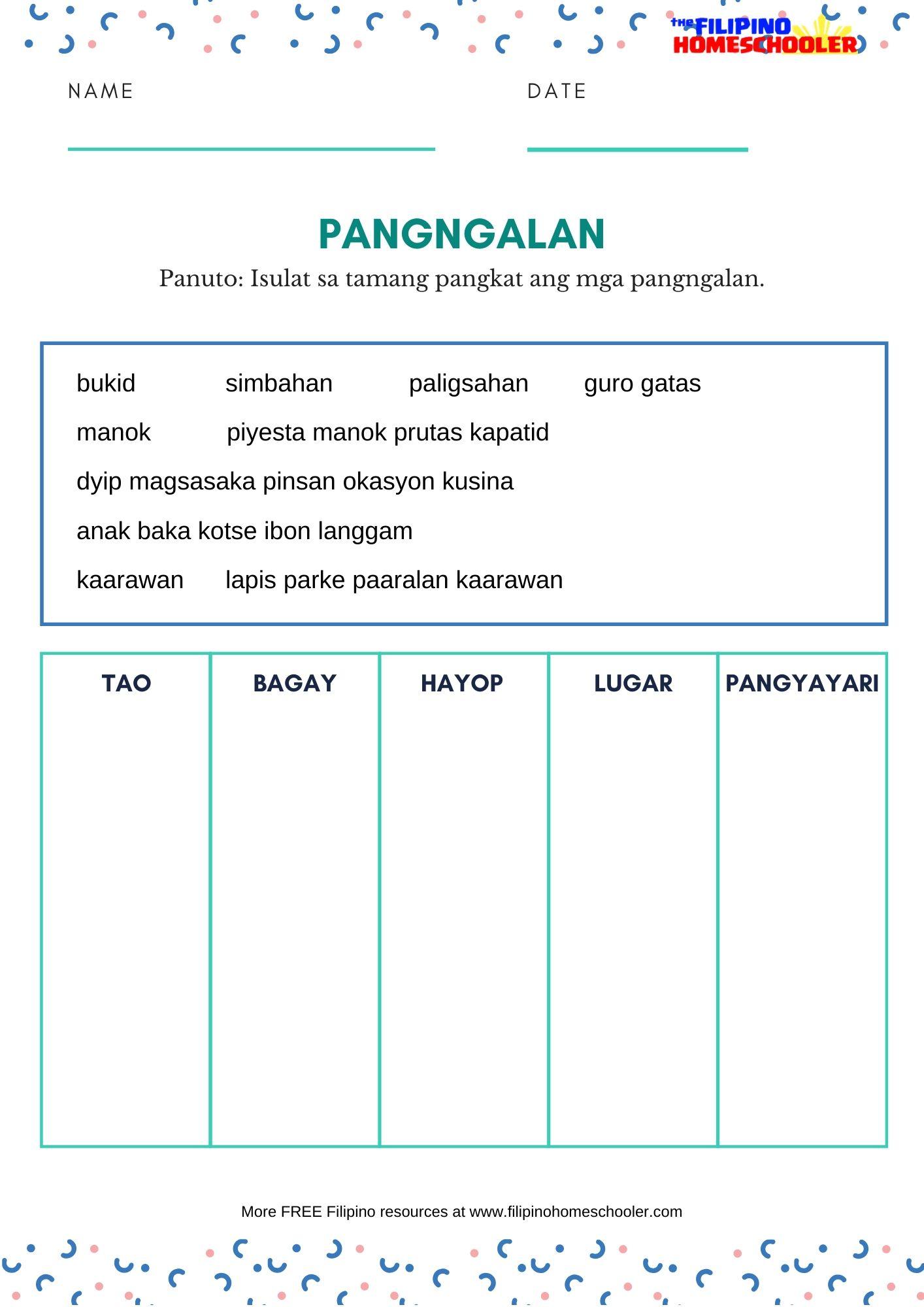 Mga Uri Ng Pangngalan Worksheets