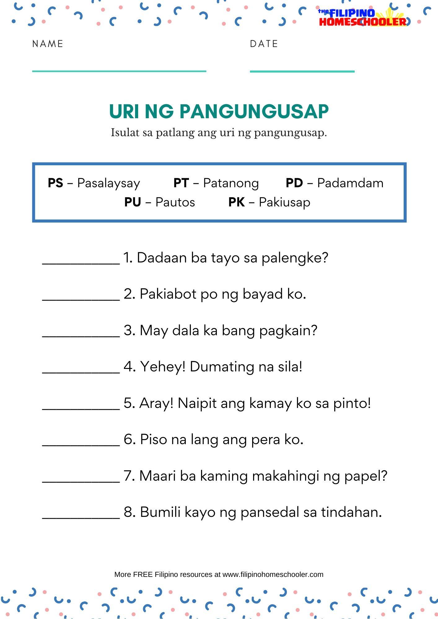 Uri Ng Pangungusap Worksheets
