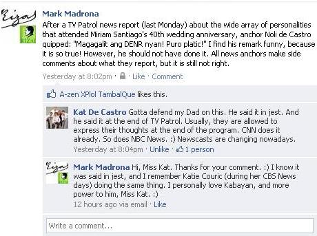 Miss Kat De Castro's comment to my Facebook post about her father's gaffe