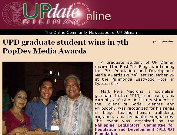 A screenshot from the write-up about me posted in the website of UP Diliman (credits: www.upd.edu.ph)