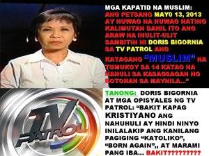 doris bigornia TV patrol muslims