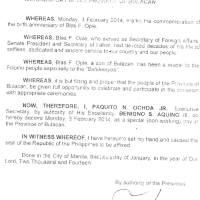 February 3 2015 declared a holiday in Bulacan - Blas Ople Day