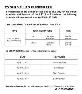 LRT schedule holy week 2014