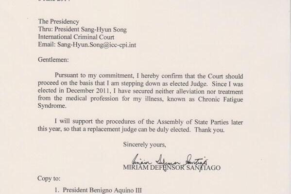 miriam santiago resigns from international criminal court