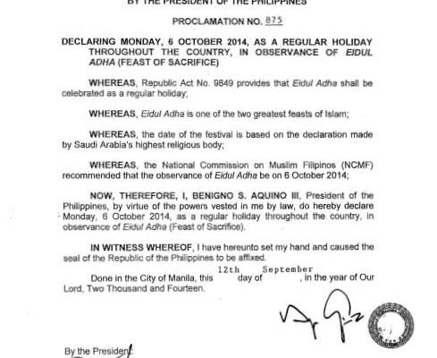 october 6 2014 philippine holiday