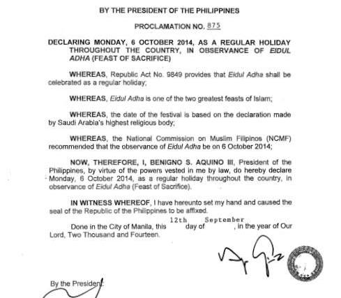 October 6 2014 Philippine holiday – Eid'l Adha