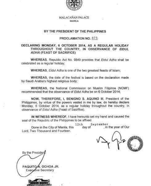 October 6 2014 Philippine holiday – Eid'l Adha