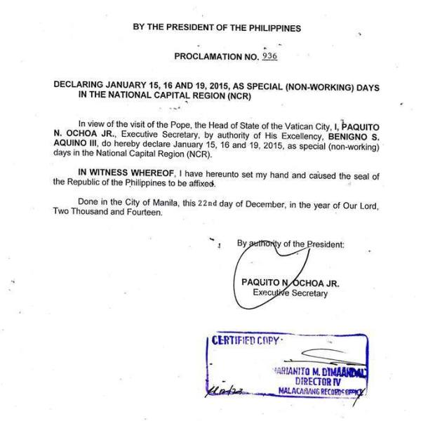 January 15, 16, and 19 2015 declared as holidays in Metro Manila
