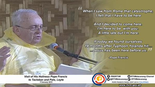 """""""Amang"""" forces Pope Francis to cut short his visit to Leyte"""