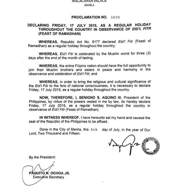 EID'L FITR   July 17 2015 declared a holiday nationwide