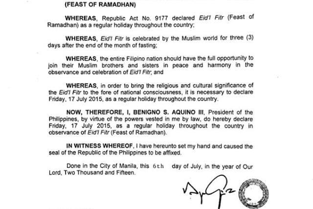 EID'L FITR | July 17 2015 declared a holiday nationwide