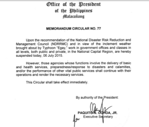 july 6 2015 class suspension metro manila