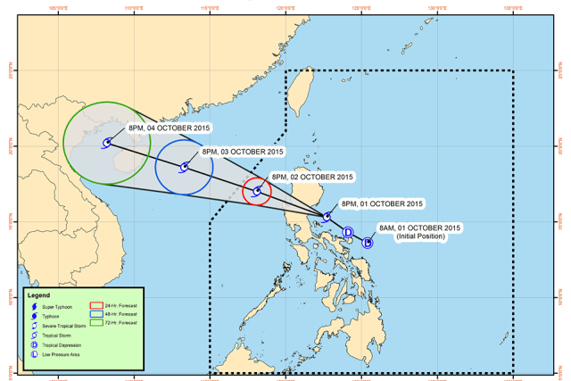 Class suspensions for October 2 2015 due to tropical storm 'Kabayan'