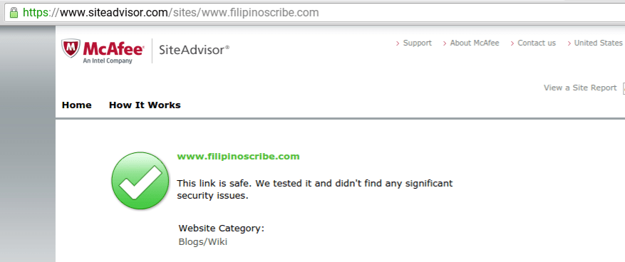 McAfee SiteAdvisor website schecker