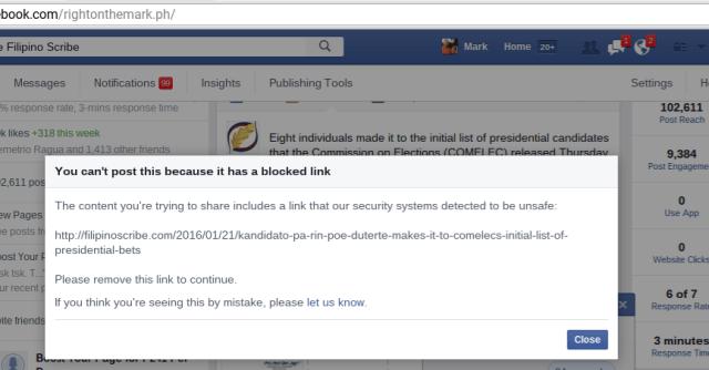 Blocked website link on Facebook