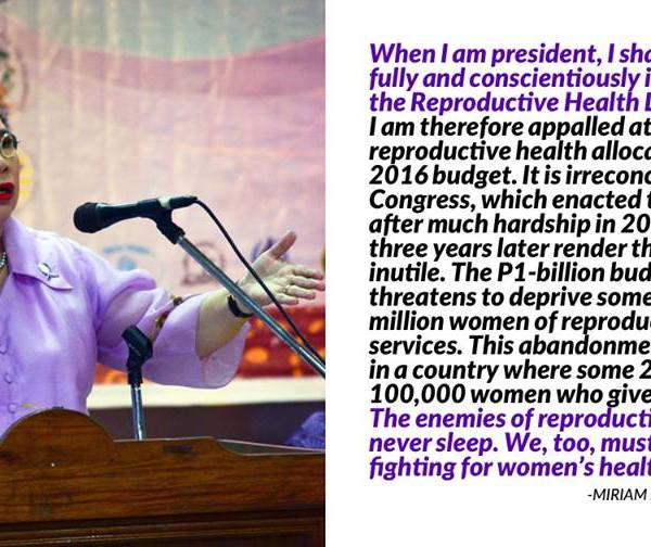 Miriam Santiago slams budget cut against reproductive health services